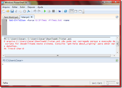 Script PowerShell sem permissão